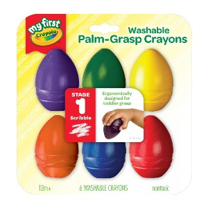 Crayola My First Washable Palm-Grasp Crayons - Best Crayons for Baby: Egg Crayon