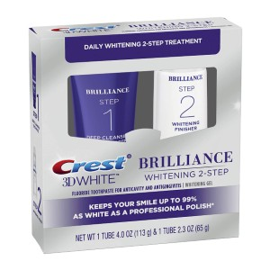 Crest 3D White Brilliance 2 Step Kit - Best Whitening Toothpaste for Smokers: At-Home Daily Cleansing and Teeth Whitening System