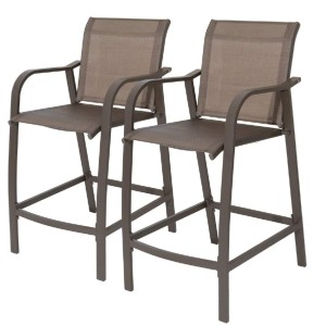 Crestlive Products Bar Stools All Weather - Best Outdoor Bar Stool: Durable Aluminum Backrest Bar Stool