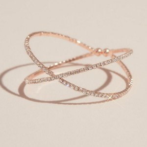 David's Bridal Crossing Pave Crystal Band Cuff Bracelet  - Best Jewelry for Off the Shoulder Dress: Lovely on its own