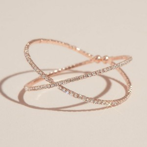 David's Bridal  Crossing Pave Crystal Band Cuff Bracelet  - Best Jewelry for Bride: For a more festive arm party