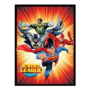 Crover Justice League Sunburst Luxury Plush Polyester Throw Blanket - Best Blanket for Cold Weather: Officially Licensed DC Comics Blanket