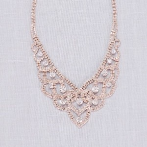 David's Bridal  Crystal Tiara Looping Necklace  - Best Jewelry for One Shoulder Dress: Steal the show