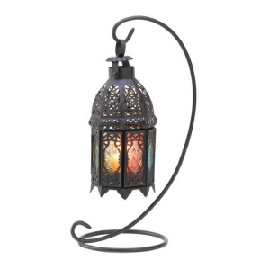 Pier 1 Curled Metal Stand with Rainbow Moroccan Candle Lantern - Best Candle Lanterns: A Gorgeous Effect of Flickering Rainbow Light