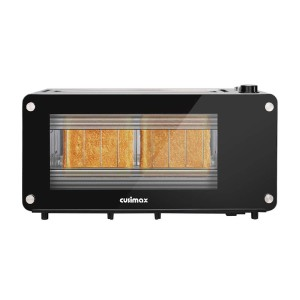 Cusimax Glass Toaster 2 Slice Long Slot - Best Toaster Long Slot: Toaster with Glass Window on Both Sides