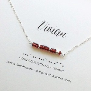 Wrapt Studio Morse Code Birthstone Bar Name Necklace - Best Jewelry for New Mom: For a subtle, secret message