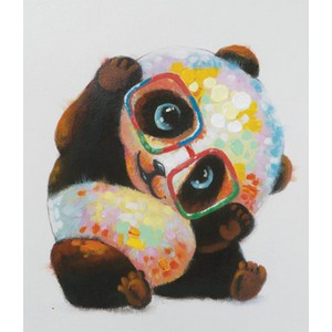 Paint by Numbers Home Cute Panda with Glasses - Best Paint by Number Kits for Seniors: Small Panda with Eyeglasses