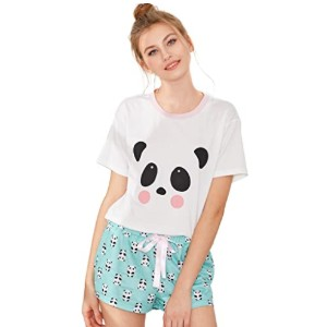 DIDK Women's Cute Cartoon Print Tee and Shorts Pajama Set  - Best Sleepwear Shorts: Adorable design