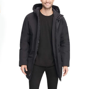 DKNY Water Resistant Hooded Logo Parka Jacket - Best Raincoats for Cold Weather: Quilted lining