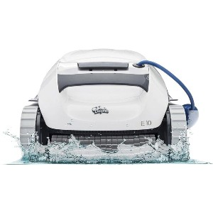 DOLPHIN E10 Automatic Robotic Pool Cleaner - Best Robotic Pool Cleaner for Leaves: Dual Brush for Extra Cleaning