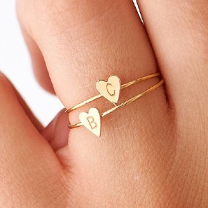Blushes And Gold Personalized Heart Ring - Best Jewelry for New Mom: Comes in a beautiful pink box