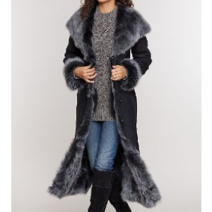 Overland Dakota Hooded Toscana Sheepskin Coat - Best Winter Coats for Women: Full-Length Hooded Sheepskin Coat