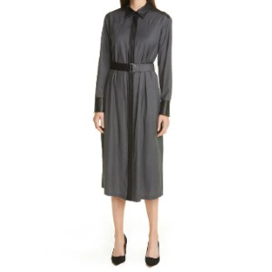 BOSS Deluta Mixed Media Belted Shirtdress - Best Dresses for Small Chest: Removable Belt