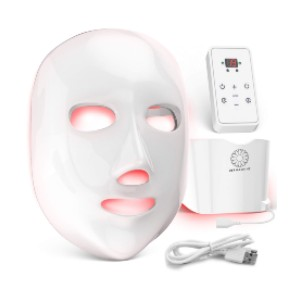 Dermishine 7 Color Wireless LED Face Mask with Neck Attachment  - Best LED Therapy Mask at Home: Face and Neck Treatment