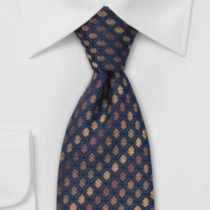 Bows-N-Ties Designer Tie in Blue and Bronze - Best Ties for Light Blue Shirts: Great thickness and texture