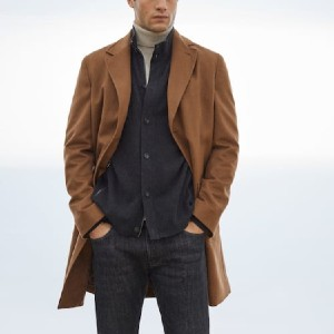 Massimo Dutti Detachable cashmere wool coat - Best Coats for Men: Detachable Interior Piece