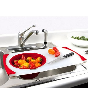 Dexas Over the Sink Strainer Board - Best Cutting Boards for Vegetables: One tool for all