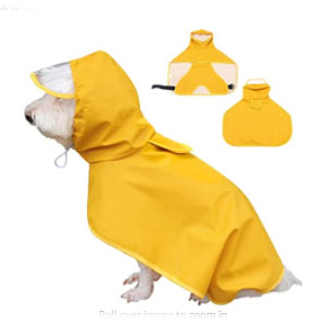 Dociote Pet Waterproof Jacket with Hood & Collar Hole Transparent Brim - Best Raincoats for Dogs: Lightweight Raincoat