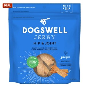 Dogswell Jerky Hip & Joint Chicken Recipe Grain-Free Dog Treats - Best Dog Jerky Treats: Rich High-Quality Protein