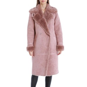AVEC LES FILLES Double-Breasted Faux Shearling Coat - Best Coats for Cold Weather: Buckle Detail at Collar