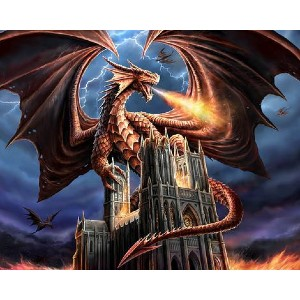 Masterpiece by Numbers Dragons Fury - Best Paint by Number Kits for Beginners: The Fury of Majestic Creature