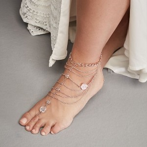 David's Bridal  Draped Chains and Coins Wedding Foot Jewelry  - Best Jewelry for Strapless Wedding Dress: Walk with confidence