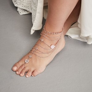 David's Bridal  Draped Chains and Coins Wedding Foot Jewelry  - Best Jewelry for Bride:  Walk with confidence