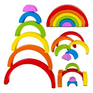Dreampark Wooden Rainbow Stacking Toy Stacker Nesting Puzzle - Best Wooden Stacking Toys: Create the perfect rainbow
