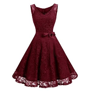 Dressystar Women Floral Lace Bridesmaid Party Dress - Best Party Dresses for Teenage Girl: It comes with removable ribbon sash