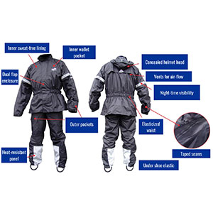GEARS Dri-Tek Two Piece Rain Suit - Best Raincoat for Motorcycle Riders: Stay Dry & Comfortable with Innovative Design