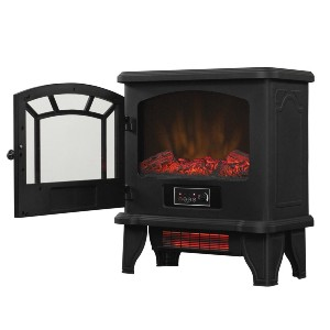 Duraflame 550 Black Infrared Freestanding Electric Fireplace - Best Electric Fireplace for Large Room: Set and forget thermostatic knob