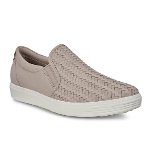 ECCO Women's Soft 7 Woven Slip on Grey Rose - Best Slip-On Shoes for Plantar Fasciitis: Premium Look and Feel Slip-On
