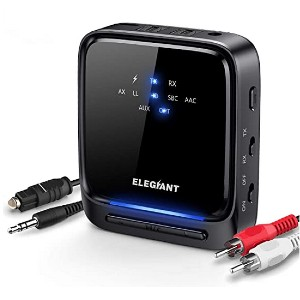 ELEGIANT Bluetooth 5.0 Transmitter Receiver  - Best Bluetooth Transmitters for TV: Up to 24 hours!