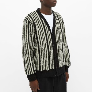 End BEAMS PLUS FLEECE STRIPE CARDIGAN - Best Cardigans for Men: Cozy Fleece Cardigan
