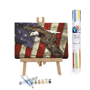 Winnie's Picks Eagle - Best Paint by Number Kits for Seniors: Depicting A Majestic Eagle Soaring in Front of The USA Flag