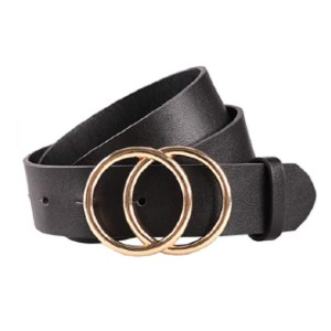 Earnda Store Women's Leather Belt  - Best Women's Leather Belts for Jeans: Double-Needle O-Ring Buckles Belt