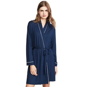 Eberjey Gisele Tuxedo Robe   - Best Robes for Women: Robe with Piping at The Seams