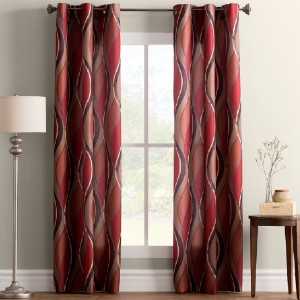 Ebern Designs Lotte Geometric Semi-Sheer Grommet Single Curtain Panel - Best Curtains for Living Room: Casual Curtain Style
