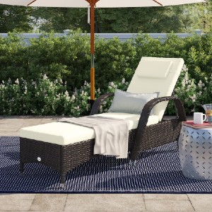 Ebern Designs Long Reclining Single Chaise with Cushion - Best Outdoor Chaise Lounge: Lounge Chair with Two Back Wheels