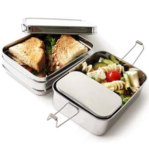 Ecolunchbox Three-in-One Stainless Steel Bento Box - Best Food Storage Container: Separating your food neatly.