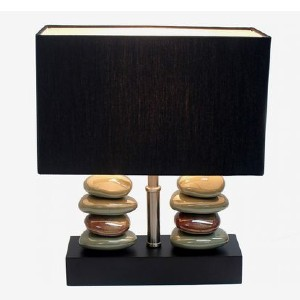 Elegant Designs LT1036-BLK Rectangular Dual Stacked Stone - Best Bedside Lamp: Lovely stacked stone table lamp