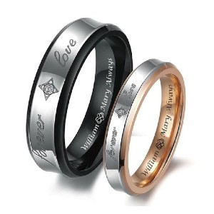 A & L Engraving Engraved Promise Ring - Best Couple Rings for Engagement: Minimalist with little gems