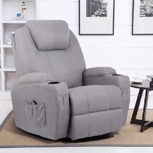 Esright 360° Swivel Heated Ergonomic Lounge Reclining Chair - Best Lounge Chair for Back Pain: Lounge Chair with 5 Relaxing Functions
