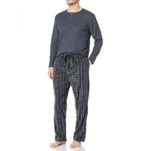 Essentials by Seven Apparel Men's Long-Sleeve Top and Fleece Bottom Pajama Set - Best Sleepwear for Men: Great for lounging or sleeping