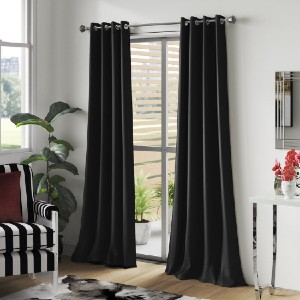 Everly Quinn Ketterman Solid Blackout Thermal Grommet Window Panels (Set of 2) - Best Curtain to Block Light: Curtain with Line Silhouette