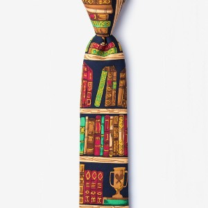 Ties Ex Libris Navy Blue Skinny Tie - Best Ties for White Shirts:  Best for bookworms