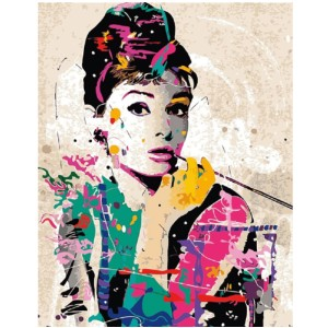 Easy Paint by Numbers FAMOUS FIGURE - Best Paint by Number Kits for Beginners: The Iconic Breakfast at Tiffany's