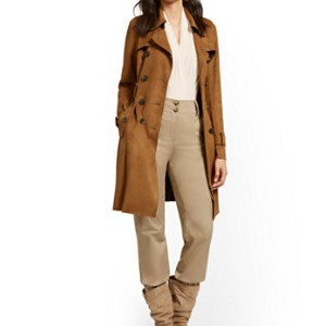 New York & Company FAUX-SUEDE TRENCHCOAT - Best Trench Coats for Petites: Double-Breasted Button Closure