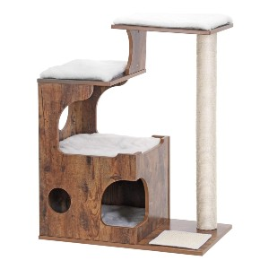 FEANDREA Medium Cat Tower with 3 Beds and House - Best Cat Tree for Senior Cats: Small Design Cat Tree