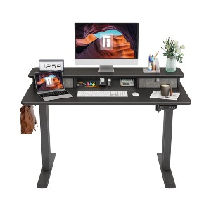 FEZIBO Height Adjustable Electric Standing Desk with Double Drawer - Best Standing Desk with Storage: Classic Desk